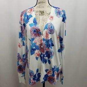 Sejour Floral Print V-Neck Cardigan Plus Size 2X